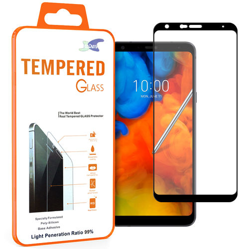 Full Coverage Tempered Glass Screen Protector for LG Q Stylus - Black